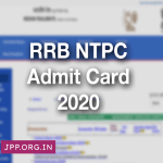 RRB NTPC Admit Card 2020