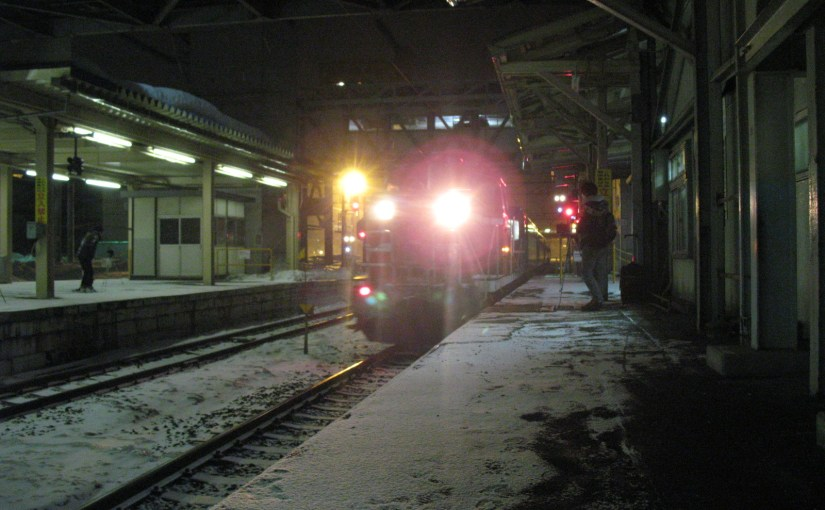 Travel by the express train Hamanasu Carpet car from Aomori to Sapporo on March 19, 2012