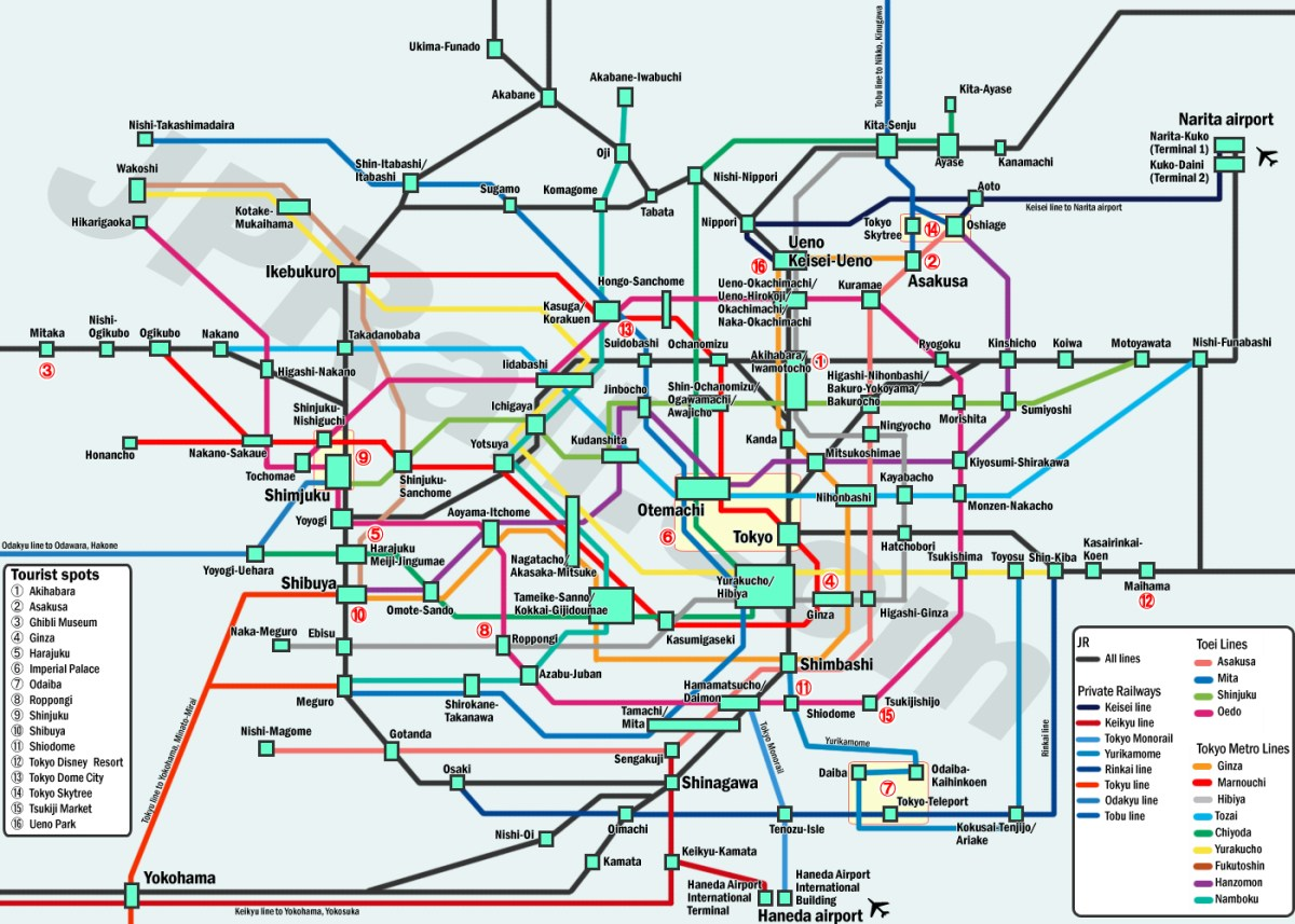 Guide to take trains in Tokyo. How to choose the best deal and the best route by train to get the major spots?