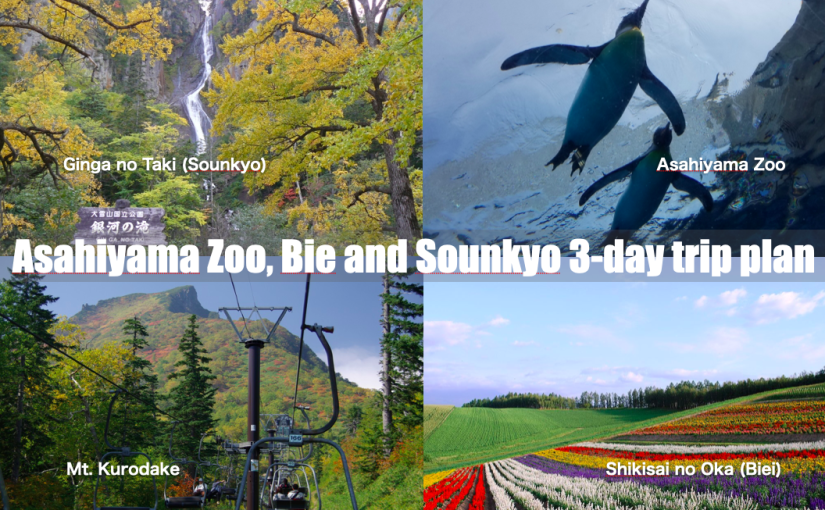 Asahikawa, Biei and Daisetsuzan 3 days sample trip plan. Central Hokkaido 3-day highlights