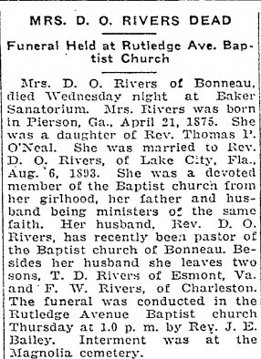 "Lorena Ann Amanda ""Lora"" O'NEAL - Obituary - Charleston Evening Post, 14 Jan 1926"