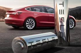 Tesla car and battery