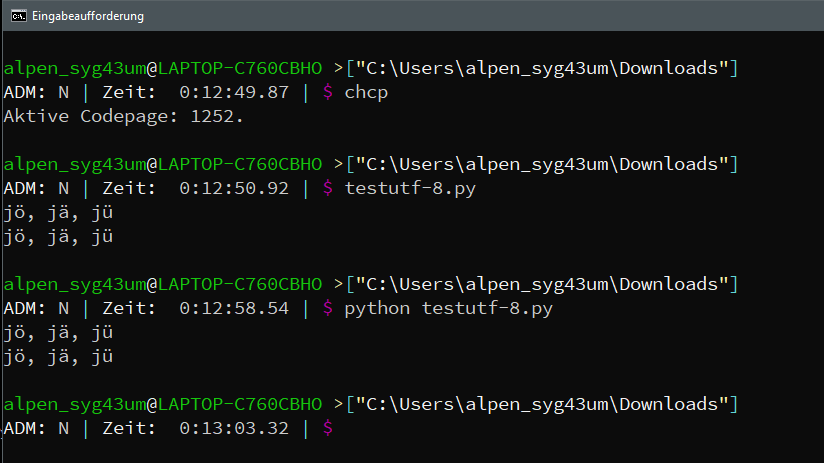 UTF-8 problem in TCC related to Python   Take Command