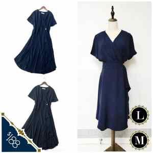 超靚😍美國單 黑色 寶藍色 V領 小飛袖 連身裙