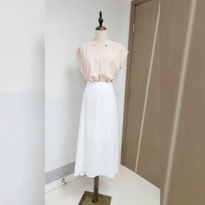 超滑❤️靚質地雪紡👍日本單 修腰 白色 半截裙