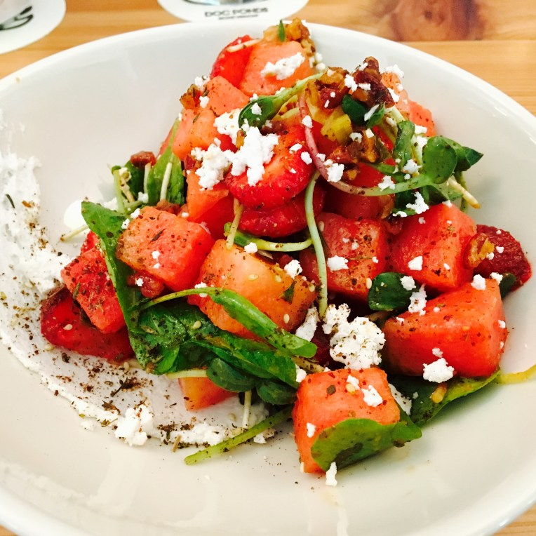 A crisp watermelon and goat cheese salad.