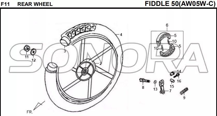 F11 REAR WHEEL FIDDLE 50 AW05W-C For SYM Spare Part Top