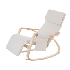 Rocking Chair Footrest Plastic Pool Lounge Chairs Displaying Gallery Of With View 9 15 Photos Recent Homcom W Adjustable Side Pocket Beige Pertaining To