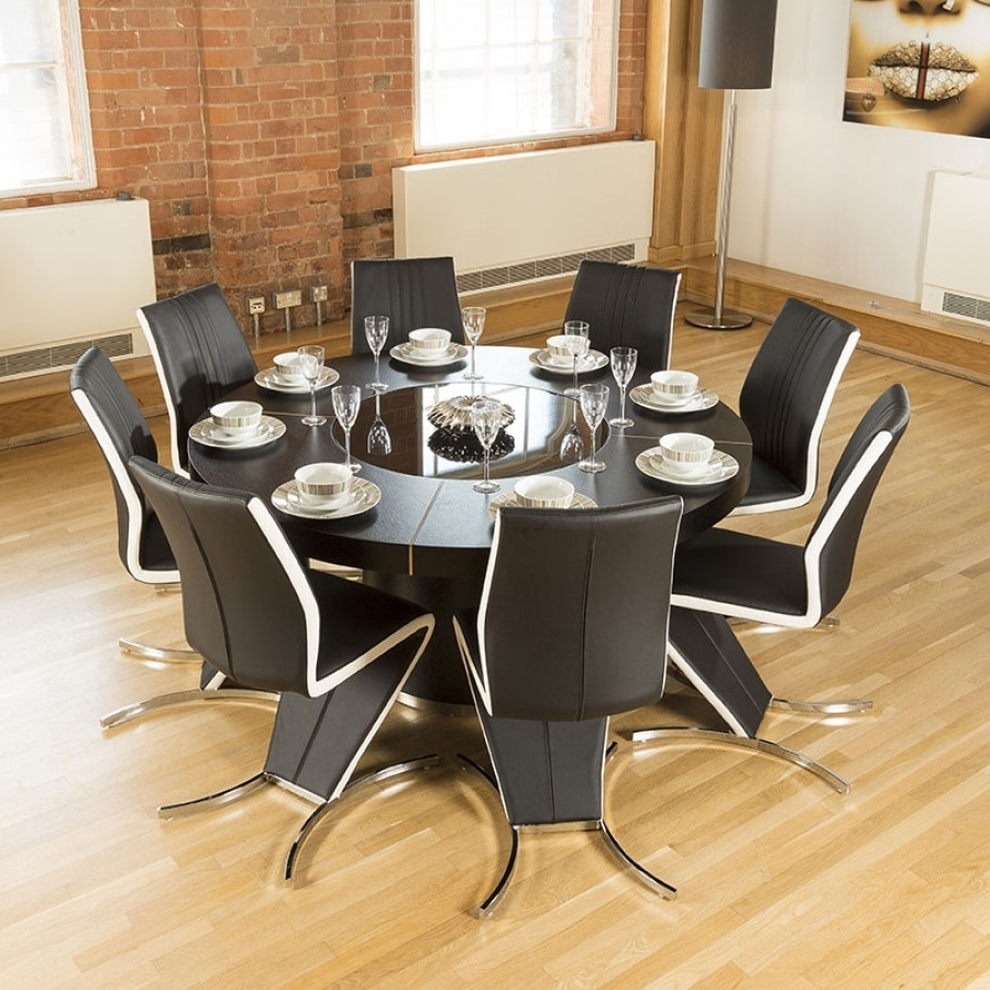 large round oak dining table 8 chairs folding chair embroidered 25 photos tables 2017 modern black high back white z with