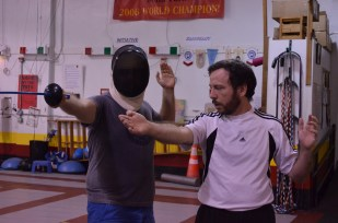 Jared learns proper stance. Made New: Fencing