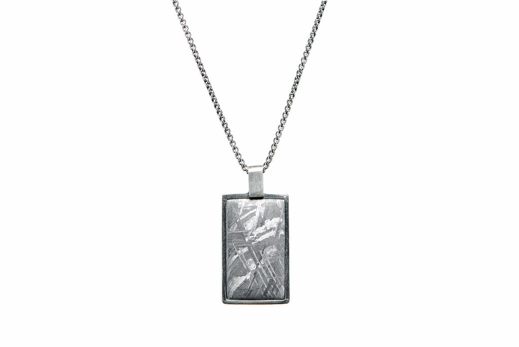 William Henry Pinnacle Silver and Meteorite Dog Tag Necklace