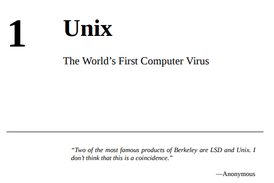Chapter 1: Unix - The World's First Computer Virus