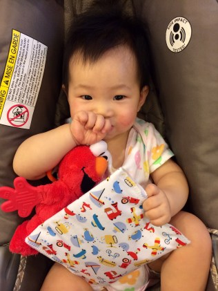 Baby E with her snack bag. Nom Nom Nom!