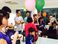 Everyone waiting for a slice of the birthday jelly cake