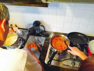 Spaghetti in the making