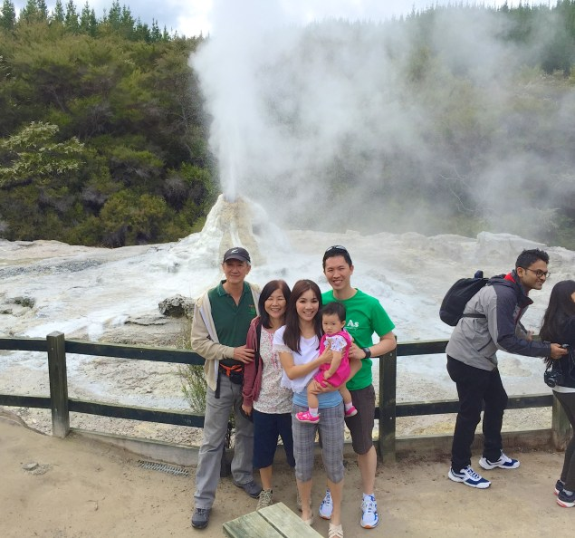 Dad and mum with us at the geyser