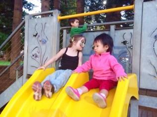 Little E at the slide