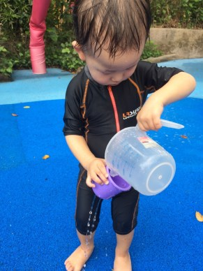 Water play at the zoo with Asher
