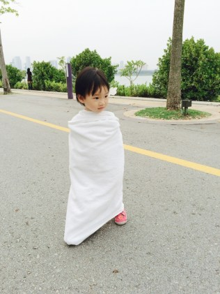 Little E towel-wrapped