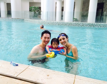 JRE in swimming pool on E's 2nd birthday