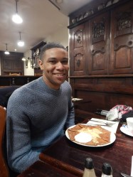 Louis King of Rochester, NY enjoys his first crêpe