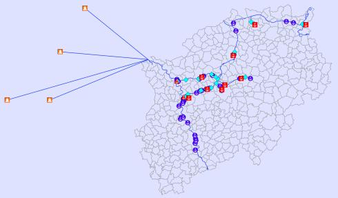 Mit den Daten der vorhandenen Infrastruktur können die Transporte zwischen den Kanalhäfen über die Rheinhäfen in Wesel bis zu den ZARAHäfen in den Niederlanden und Belgien berechnet werden. Im Bild ein Screenshot aus der Benutzeroberfläche der Simulationssoftware: Der Transport auf dem Kanalnetz wird auf einer Landkarte visualisiert und kann so intuitiv betrachtet werden. Bildquelle: RIF Daten der vorhandenen Infrastruktur können die Transporte zwischen den Kanalhäfen über die Rheinhäfen in Wesel bis zu den ZARAHäfen in den Niederlanden und Belgien berechnet werden. Im Bild ein Screenshot aus der Benutzeroberfläche der Simulationssoftware: Der Transport auf dem Kanalnetz wird auf einer Landkarte visualisiert und kann so intuitiv betrachtet werden. Bildquelle: RIF