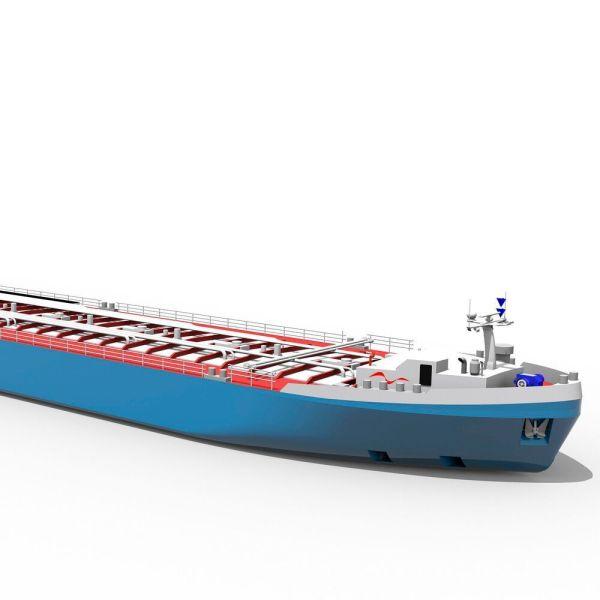 Der Chemiekonzern BASF hat ein innovatives Tankschiff für Rhein-Niedrigwasser vorgestellt. (Bild: Technolog)