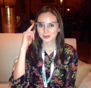 The author, Jacqueline Lisk, demoing Google Glass
