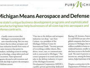 """Michigan means aerospace and defense,"" Inc. Mag"