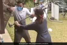 सनी लियोनी की फिल्म के सेट पर हो गई लड़ाई, बीच बचाव करती दिखीं एक्ट्रेस