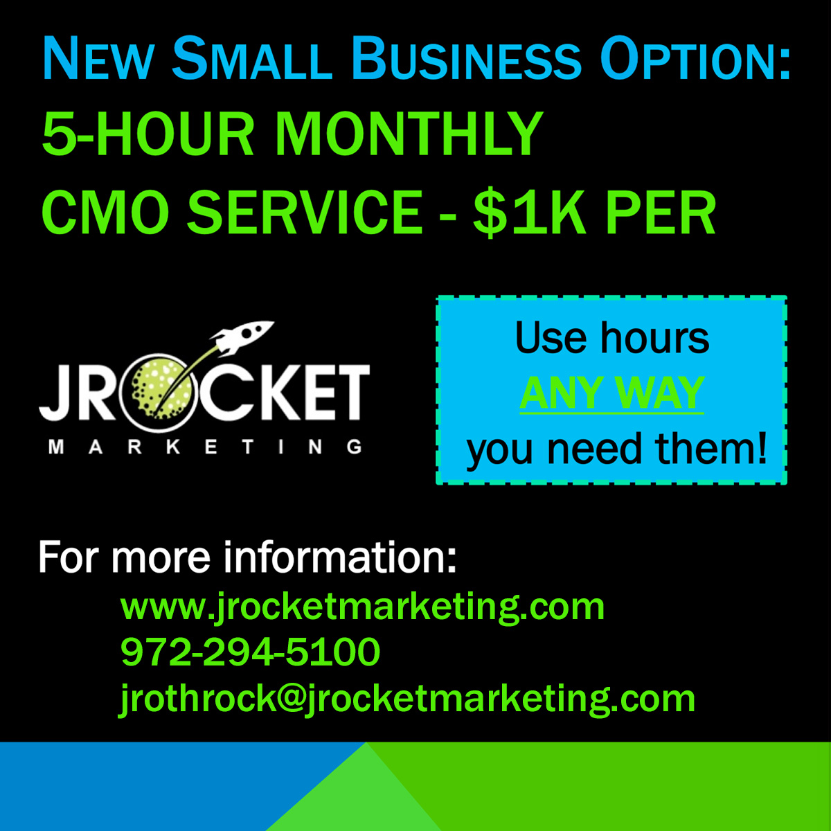 JRocket Marketing 5-Hour CMO Service for Small Businesses