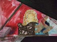 Learning Piano, (c) JROW, 2008; 8x10, watercolor on paper, bandaids, gold and silver leaf, crayon, pastel