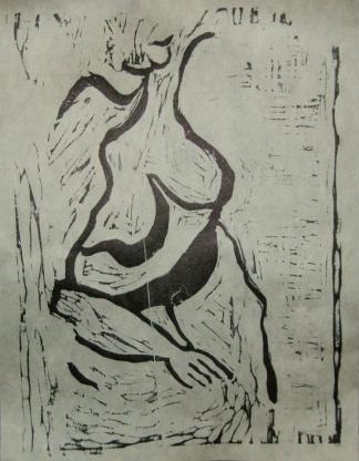 Pretty, Fat Girl; (c) JROW, 2011; 9x12 woodcut