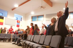 Dave and Julia Ewert sing during a Sunday church service at New Hope Church in Roseburg, Oregon three days after the state's deadliest mass shooting occurred in the city's Umpqua Community College. Dave is the pastor of the church, which gathered for a Sunday service on Oct. 4, 2015.