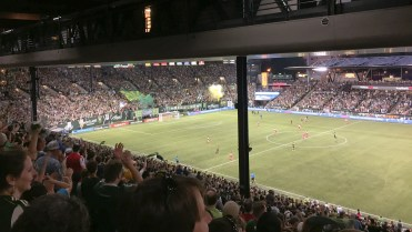 I have attended two Portland Timbers matches over the past two months. Providence Park, where the team plays, was built in 1926 and seats about 22,000 people. The stadium sells out for most Timbers matches. It's a fantastic stadium, in my opinion.