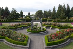 The University of British Columbia's Rose Gardens look out over the Salish Sea.