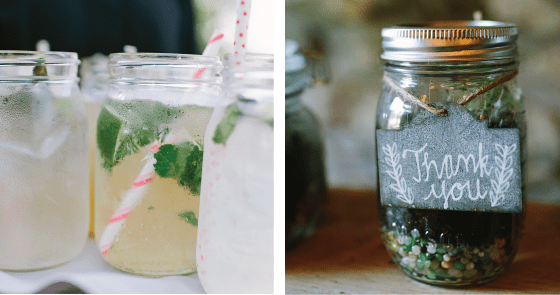 Mason Jars at Rustic Wedding for salad and beverages
