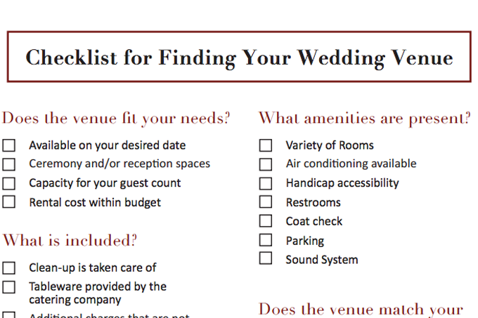 Philadelphia Wedding Venue Checklist