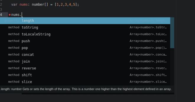 Atom podpowiedzi składni TypeScript