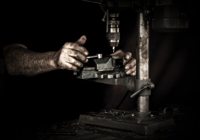 Working drill press, tool used to build ghost guns.