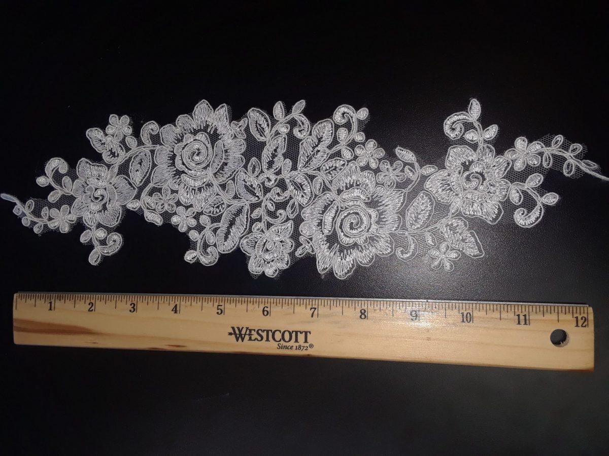 Baby pink bridal floral lace applique wedding lace motif for sale
