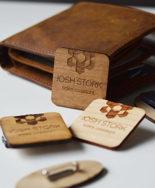 Square name badge - JS Laser Craft - Custom wood and leather tags and labels