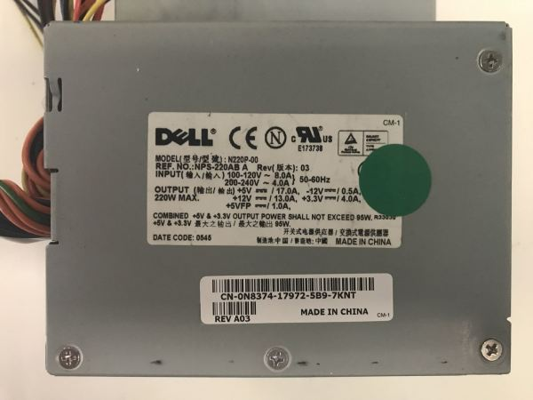 Dell N220P-00 Power Supply. CN-N8374