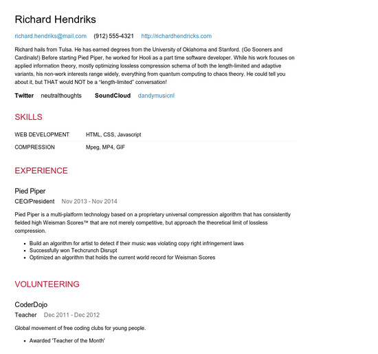 Resume Json - Resume Examples   Resume Template
