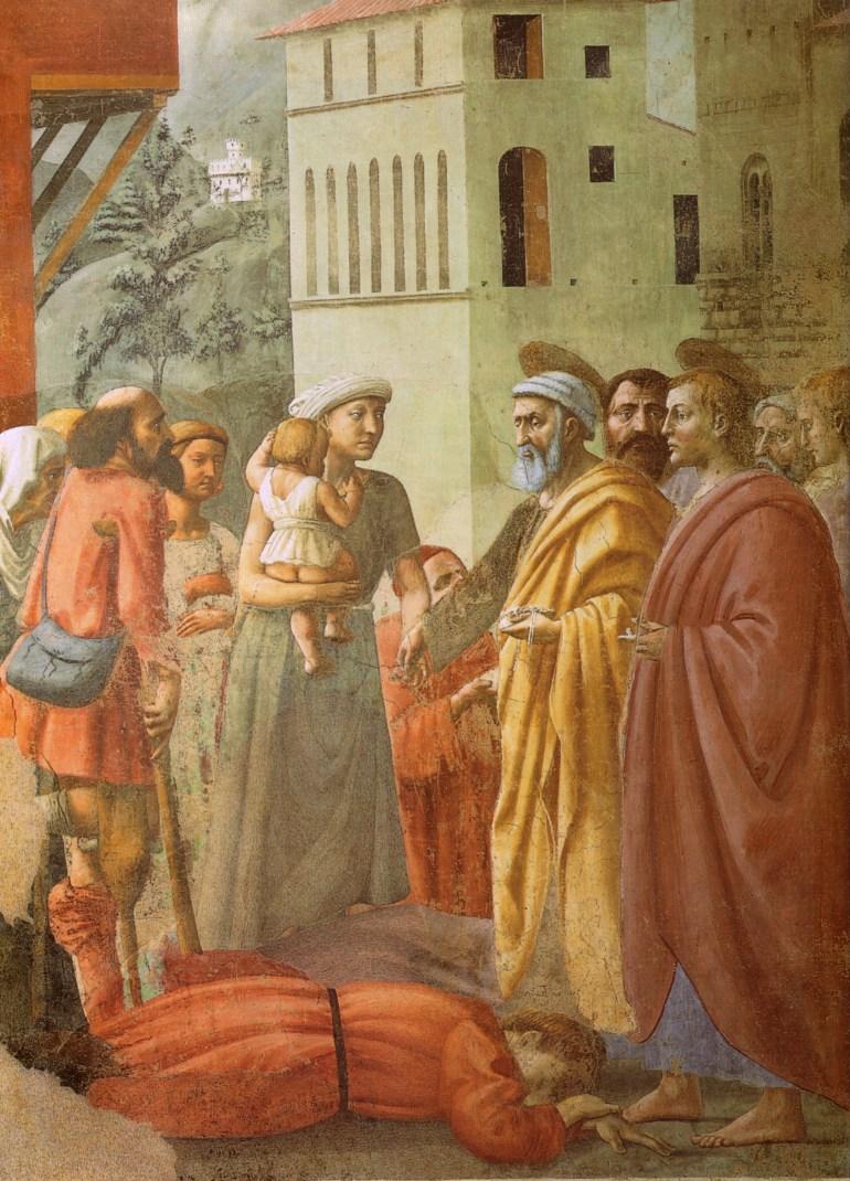 Cappella_brancacci,_Distribuzione_delle_elemosine_e_la_morte_di_Anania_(restaurato),_Masaccio
