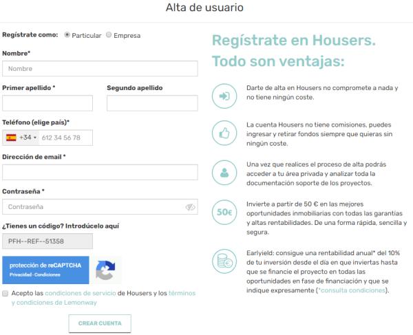 Housers Formulario de registro