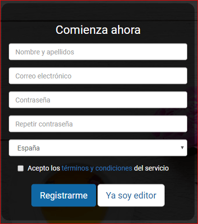 Publisuites Formulario de registro