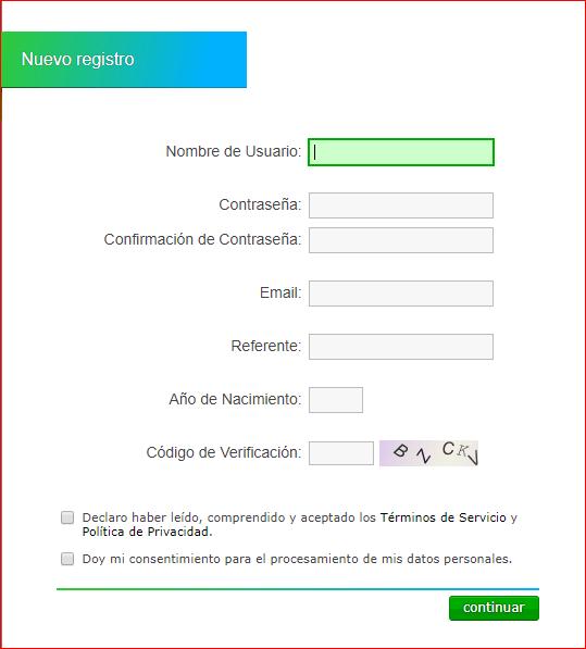 Neobux Formulario de registro