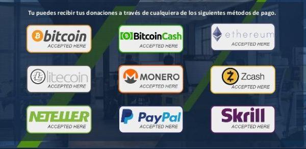 Crypto Funding Club Metodos de pago