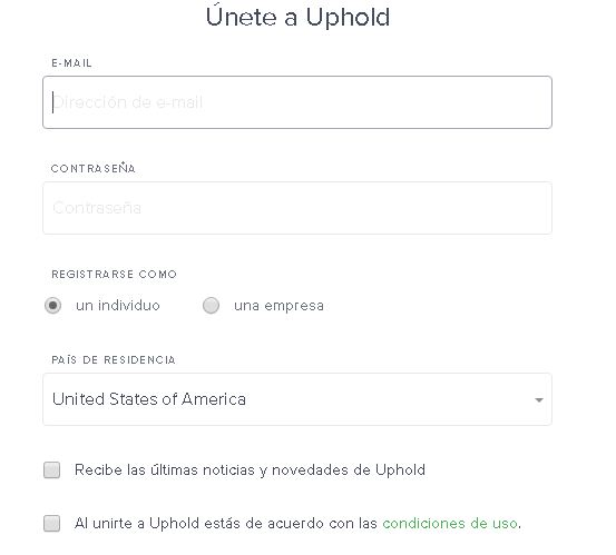 Uphold Formulario de registro